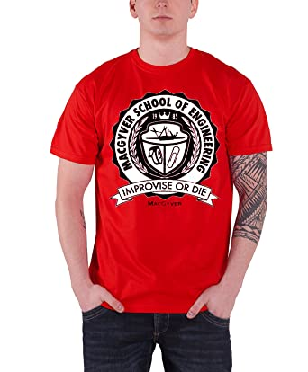 f9571250 Amazon.com: Macgyver T Shirt School of Engineering Improvise Or Die Official  Mens Red: Clothing