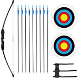 Procener 45' Bow and Arrow Set for Kids Archery Beginner Gift Recurve Bow Kit with 9 Arrows 2 Target Face 18 Lb for Teen…