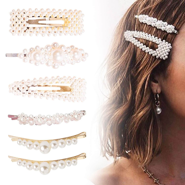 8c9789567 Amazon.com : 6Pcs Pearls Hair Clips for Women Girls, FOXTSPORT Faux Pearl  Hair Pins Barrettes Stick Snap Hair Clips For Gifts Hairpins Headwear  Wedding Hair ...