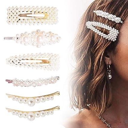 6 clips de pelo de perlas para mujeres y niñas, de FOXTSPORT, pasadores de