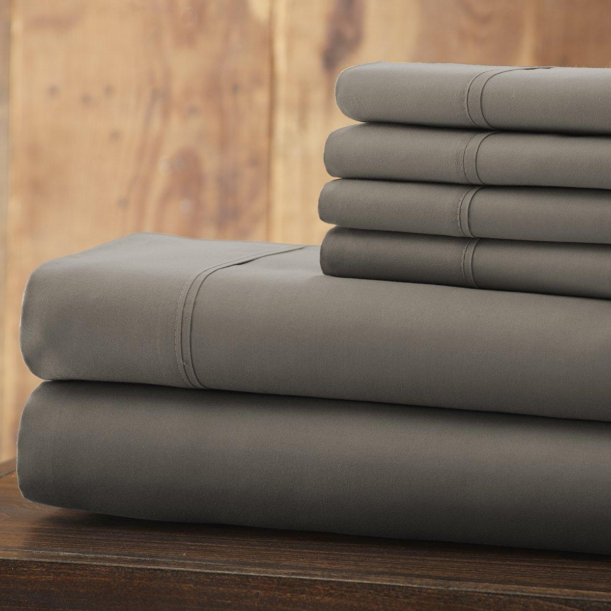 Spirit Linen 6 Piece Everyday Essentials 1800 Series Sheet Set, Queen, Grey