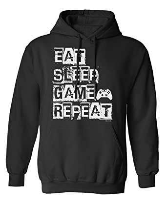 Eat Sleep Game Repeat Video Gamer Elija Sudadera con Capucha o suéter Hombres Mujer: Amazon.es: Ropa y accesorios