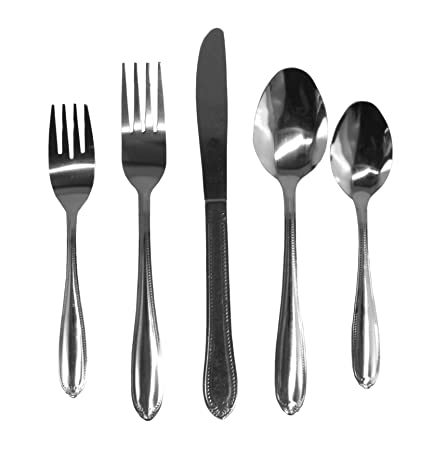 Amazon.com | GIBSON 20-Piece Stainless Steel Flatware Set - Service For 4-80060 Luxeria: Flatware Sets