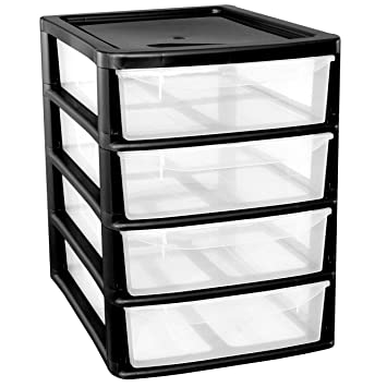 A Drawer Plastic Storage Unit Black Homes Office Bedroom