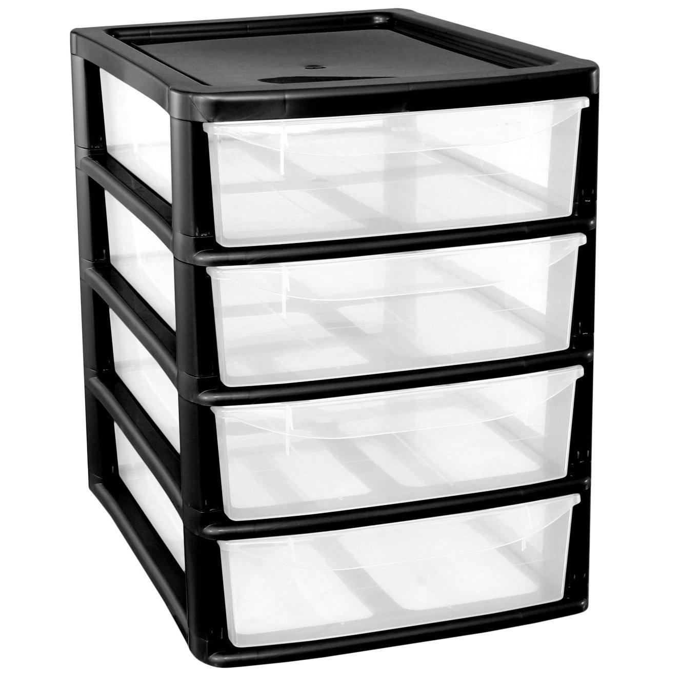 CrazyGadget A4 4Drawer Plastic Storage Unit Black- Homes/Office/Bedroom  sc 1 st  Amazon UK & Plastic Storage Units with Drawers: Amazon.co.uk