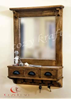 Dressing Mirror With Hooks And 3 Storage Drawers Bathroom Shelf In 2 Parts
