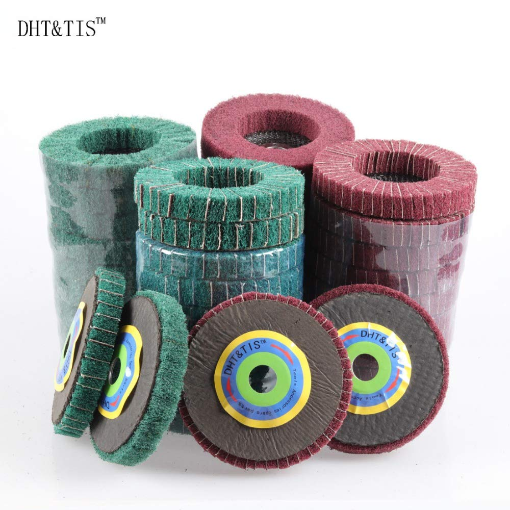 Maslin DHT&TIS 40 pieces 4inch/100mm 180Grit Green Non-woven Combi Abrasive Fiber Sanding Disc Angle grinder accessories - (Grit: 240)