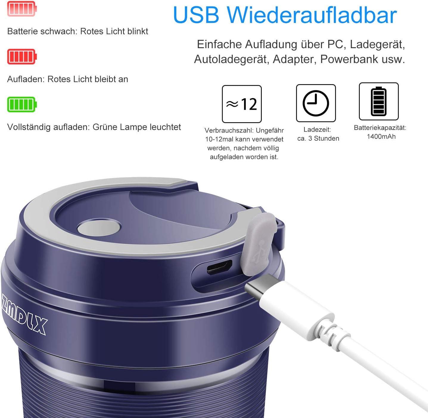 Licuadora portátil SZMDLX, mini batidora de pie Juicer con USB ...