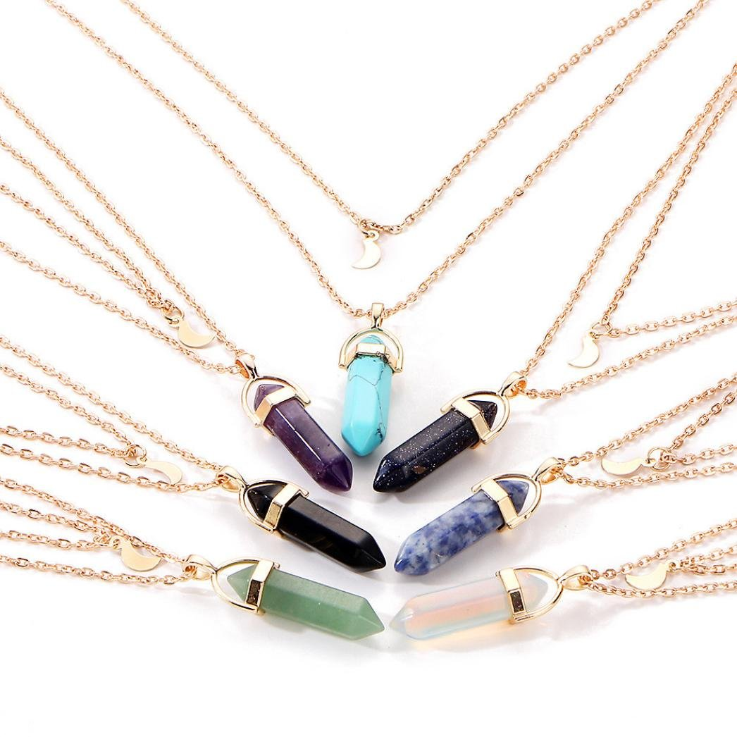 BSGSH Women Girls Multilayer Irregular Crystal Opals and Moon Pendant Necklace Choker Chain Jewelry