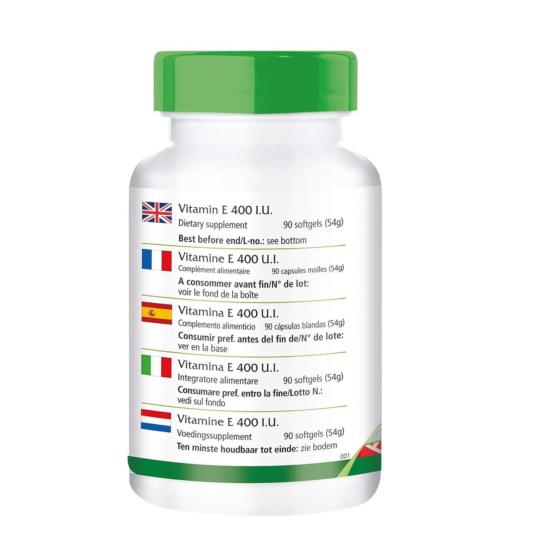 Vitamina E 400 UI - Bote para 3 meses - Alta dosificación - 90 cápsulas blandas - antioxidante: Amazon.es: Salud y cuidado personal
