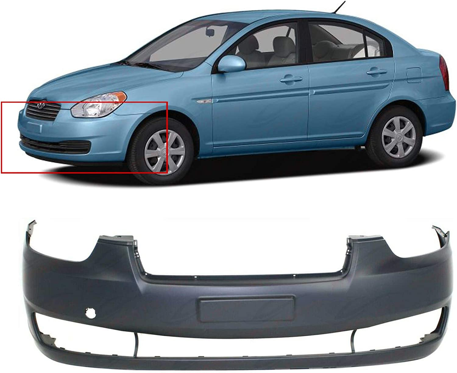 Bumper Covers HY1000163 865111E010 20077 2008 2009 2010 Primed and ...