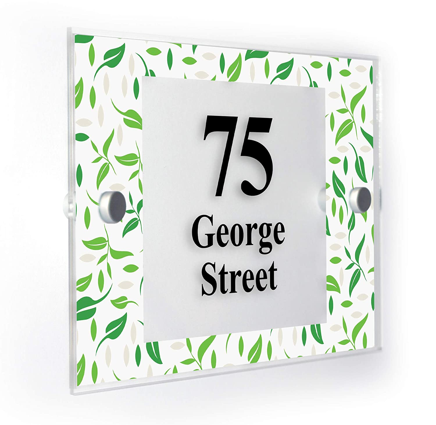 Green Tea Leaves Personalised House Number Plaque Home Sign Weatherproof Market Leading Print Premium Home Plaques