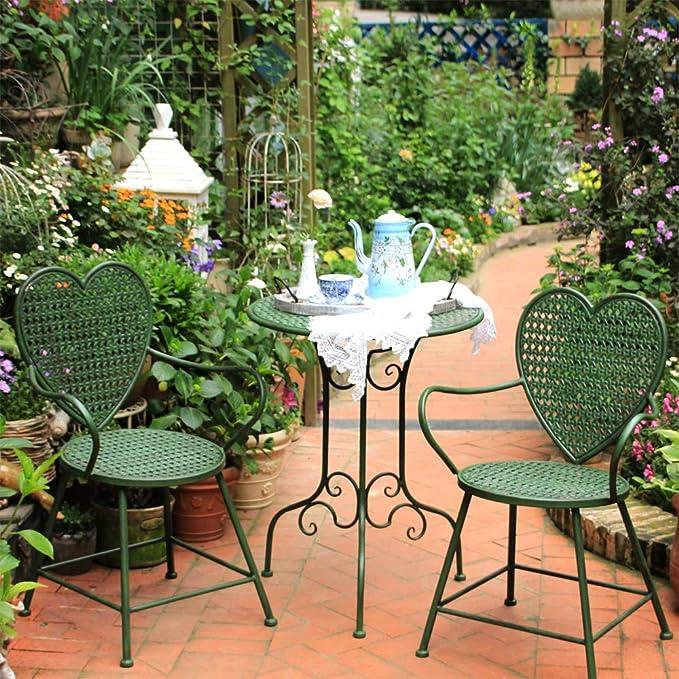 zenggp Jardín Americano Conjunto Mesa Sillas Hierro Forjado Exterior Balcón Terraza Sillón Soporte De Planta En Forma De Corazón,1table: Amazon.es: Hogar