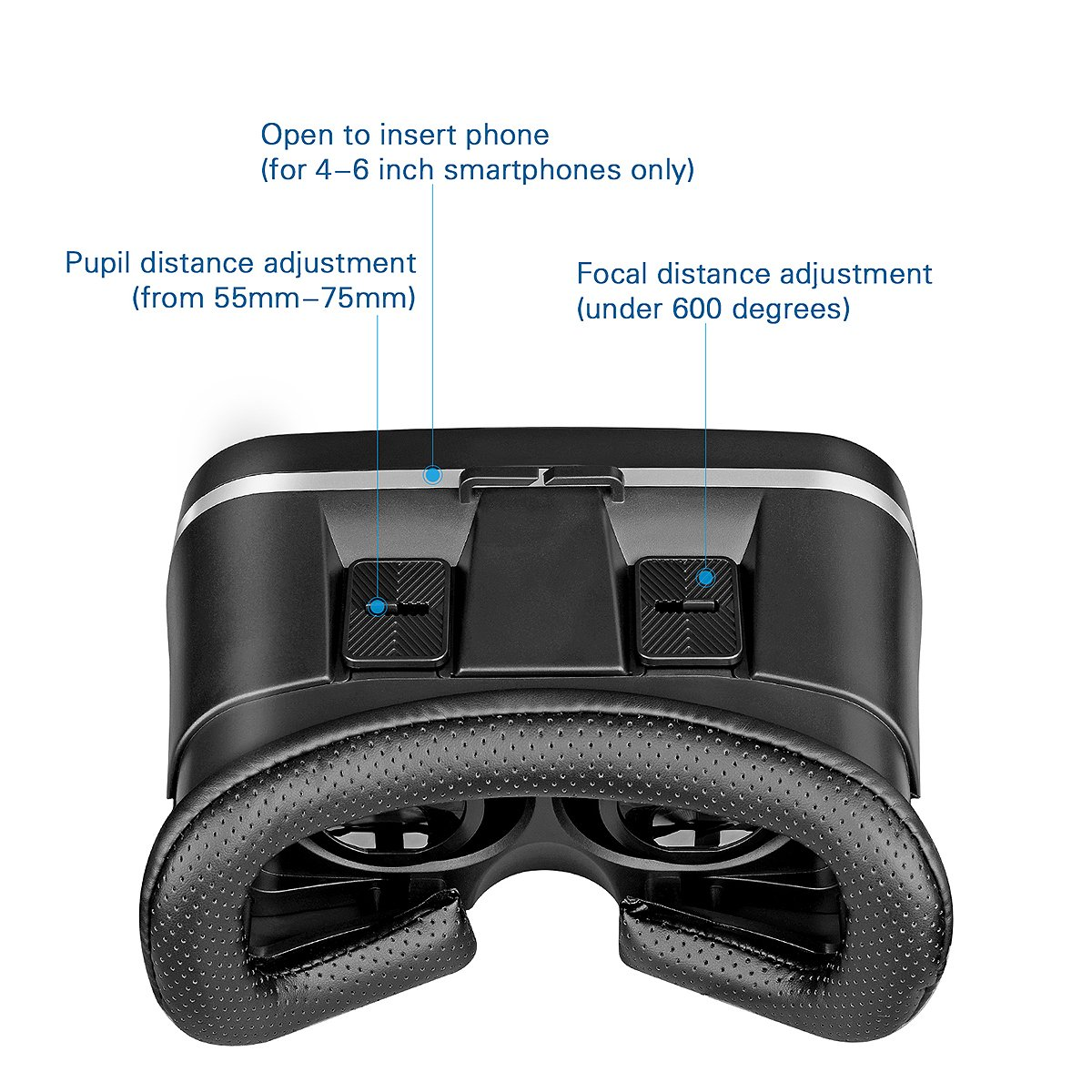 VR Headset, Canbor VR Goggles Virtual Reality Headset VR Glasses for 3D Video Movies Games for Apple iPhone, Samsung Huwei HTC More Smartphones by Canbor (Image #2)