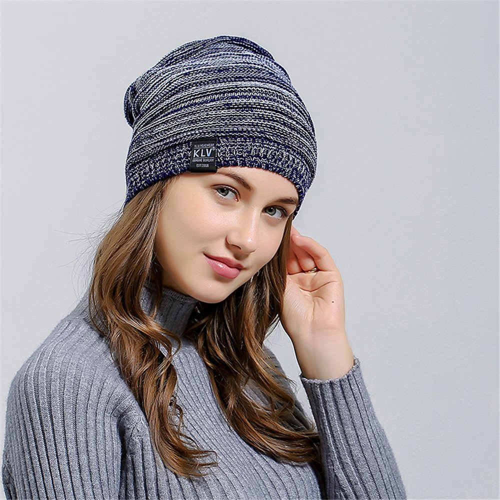HULKAY Unisex Caps Premium Soft Stretch Pleated Warm Hooded Wool Knitted Hat(Navy) by HULKAY (Image #3)