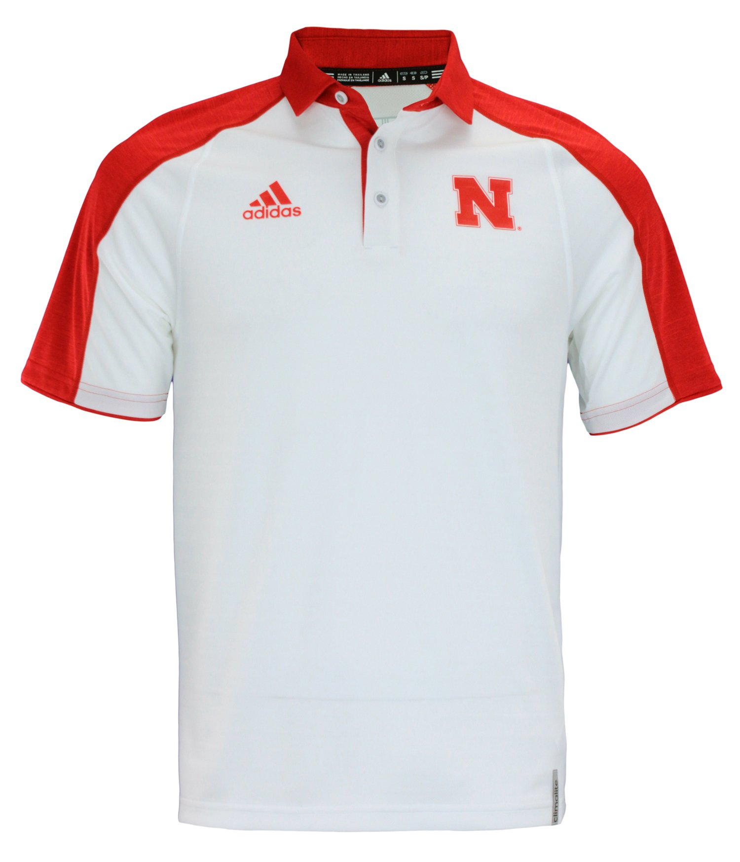 adidas NCAA Men's Nebraska Cornhuskers Coaches Polo, White Small
