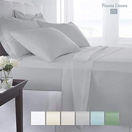 Luxury 400 Thread Count Fitted Bedsheets Queen Size With Elastic Light  Grey, 100% Long