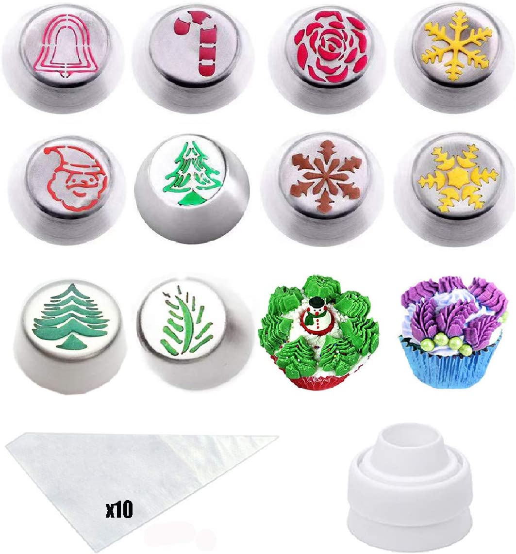 Cofe-BY Cake Russian Piping Tips - 21pcs Cake Decoration Baking Supplies, Cakes Cupcake Cookies Muffins Flower Cake Decorating Tips 10 Icing Nozzles 1 Coupler 10 Disposable Pastry Baking Bags