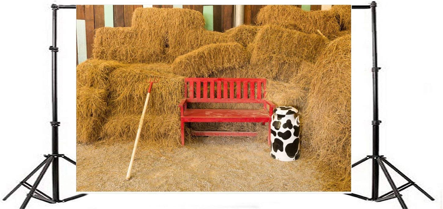 Vinyl 9X6FT Old Barn Backdrop Rustic Farm Tool Rake Red Wooden Chair Straw Hay Bale Vintage Stripes Wood Plank Cow Bottle Autumn Photography Background Kids Adults Photo Studio Props