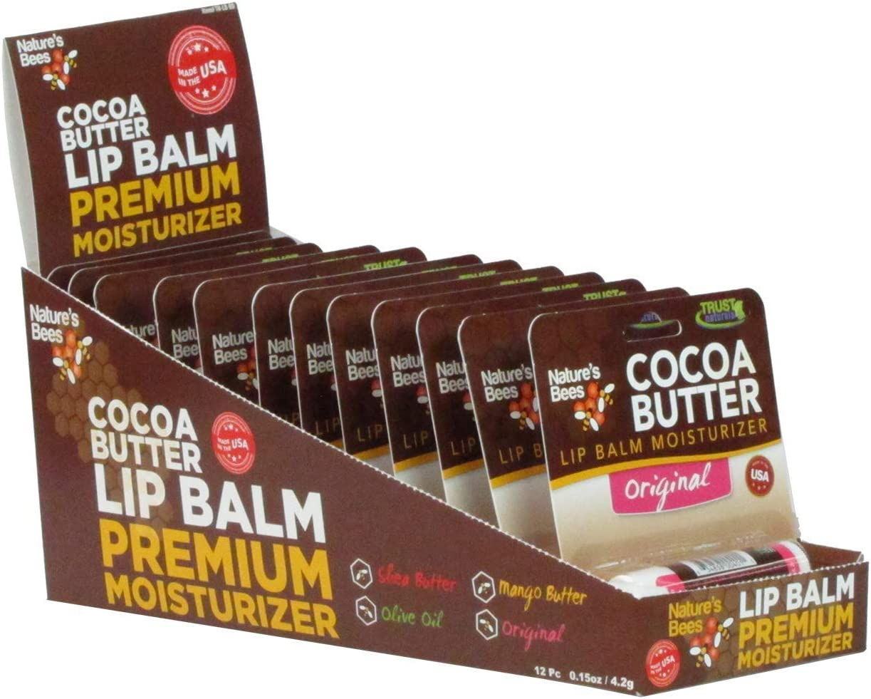 Nature's Bees, Cocoa Butter Lip Balms, Lip Moisturizer Treatment - Pack of 12, Original