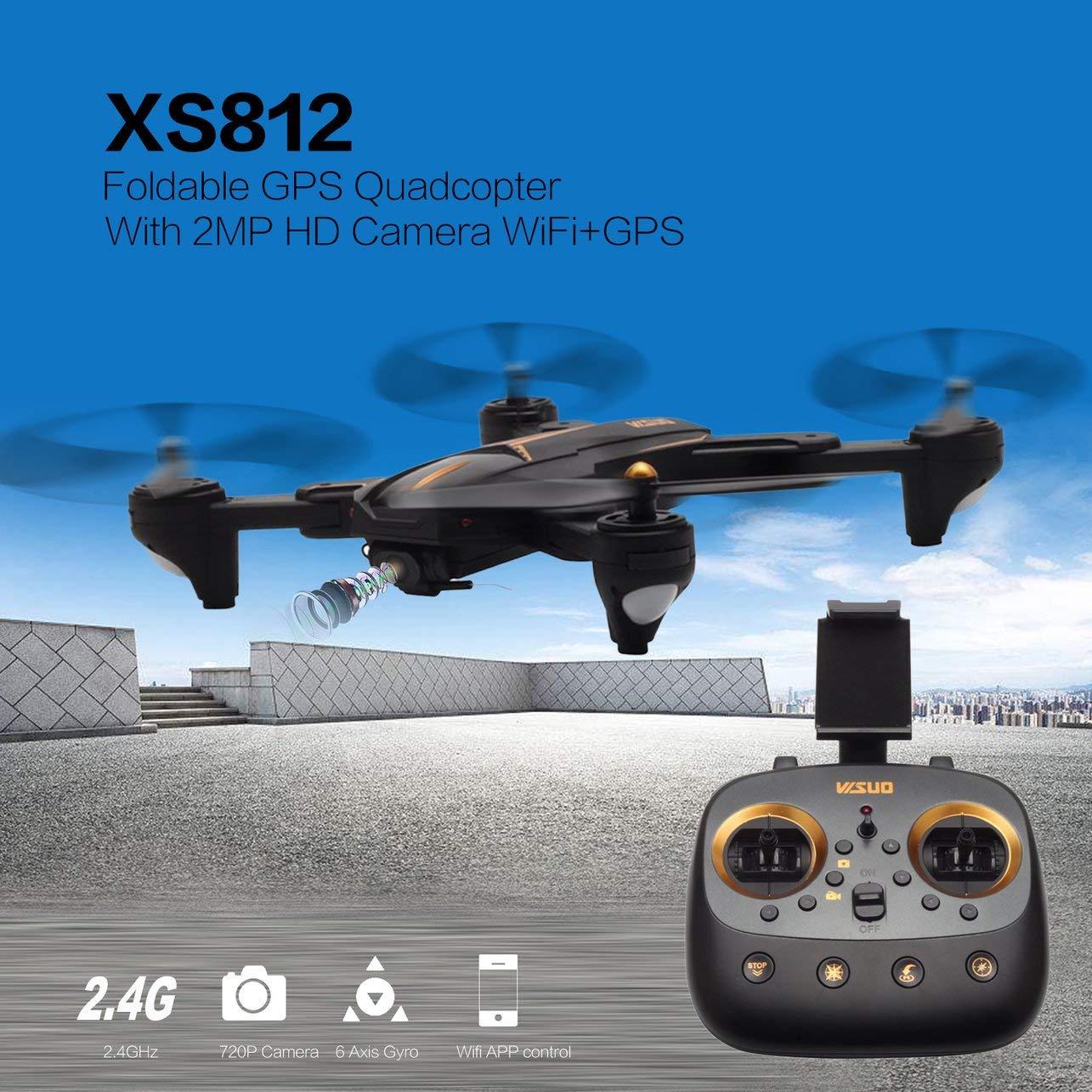 WOSOSYEYO XS812 Faltbare GPS Quadcopter RC Drohne mit 2MP HD Kamera WiFi + GPS Positioning Flugzeuge Höhe Hubschrauber Flugzeuge (Schwarz