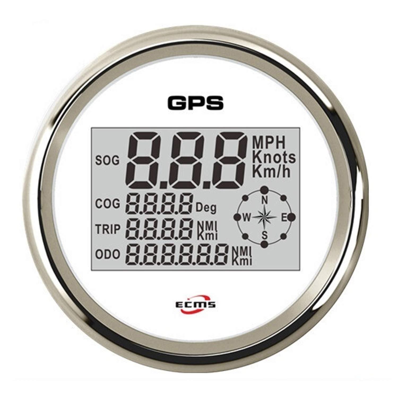 JUNJIAGAO-gauge Low Power Consumption 85mm GPS velometer, Speedometer,Digital GPS Speedometer White Faceplate 316 Stainless Steel Bezel for Car Truck, Waterproof, Lightning-Proof by JUNJIAGAO-gauge