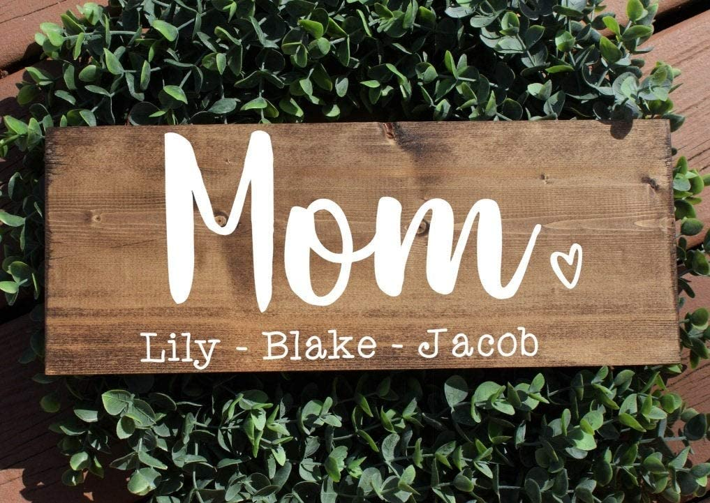 CiCiDi Placa de madera rústica, señal de nombre de los niños, regalo personalizado para el día de la madre, cartel de madera rústica, cartel de la madre, cartel de la familia – 40,6 x 40,6 cm