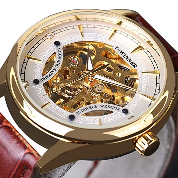 Winner - Reloj de Pulsera para Hombre, Correa de Piel, Color Negro y Dorado: Amazon.es: Relojes