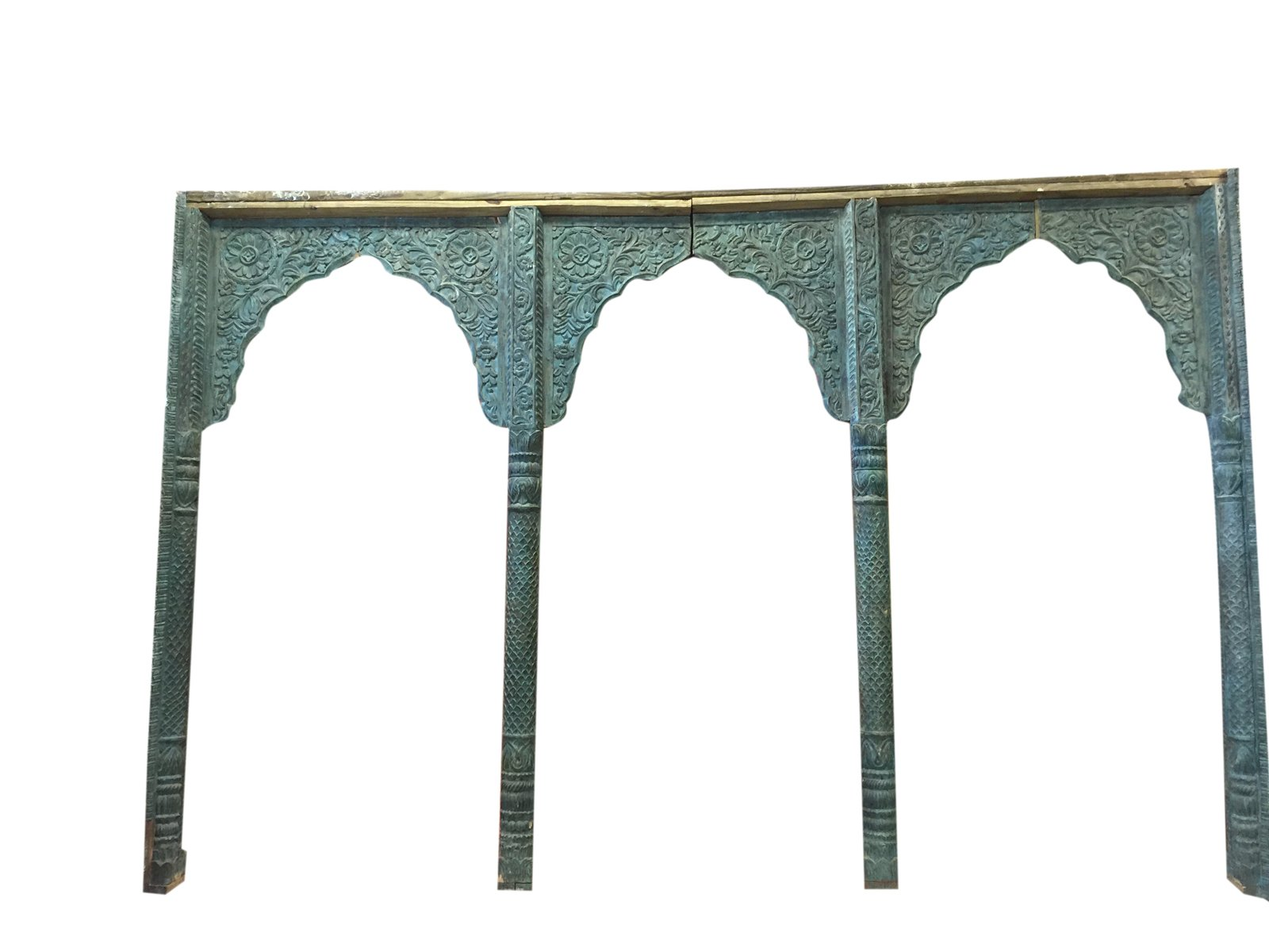 Mogul Architectural Antique India Archway Carved 3 Arch Double sided Room Divider Rare Unique 19c