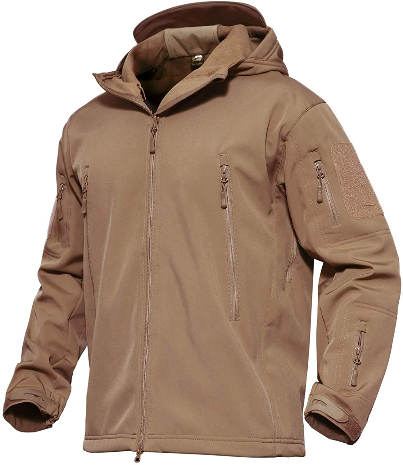 MAGCOMSEN Men's Hooded Tactical Jacket Water Resistant Soft Shell Outwear Coat