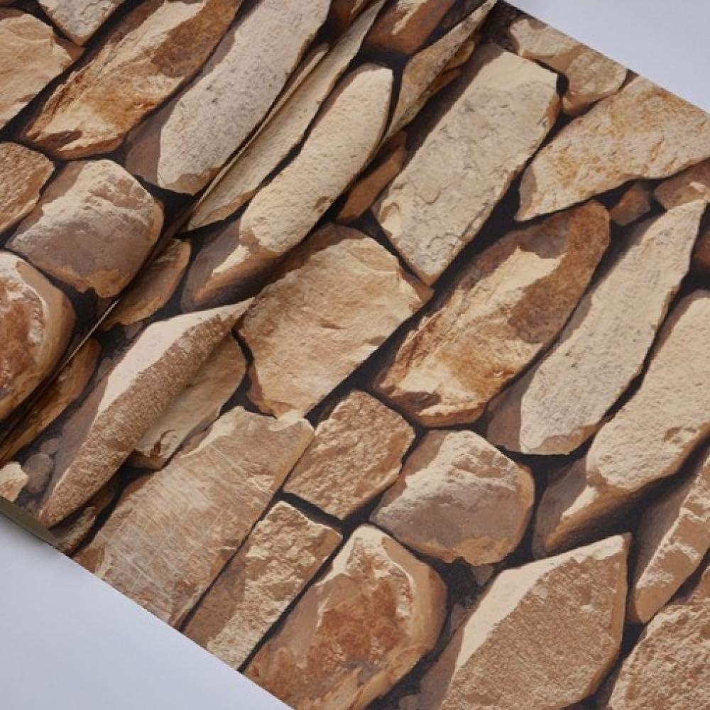 DUOCK Imperm/éable /À Leau Vintage 3D Effet De Pierre Papier Peint Moderne Rustique R/éaliste Faux Pierre Texture Vinyle PVC Papier Peint D/écor /À La Maison @ WP54003/_Dark/_Brown/_10mx53cm
