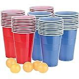 infactory Bierpong: Trinkspiel-Set Bier Pong mit 60 Bechern (je 450 ml) und 5 Bällen (Beer Pong)
