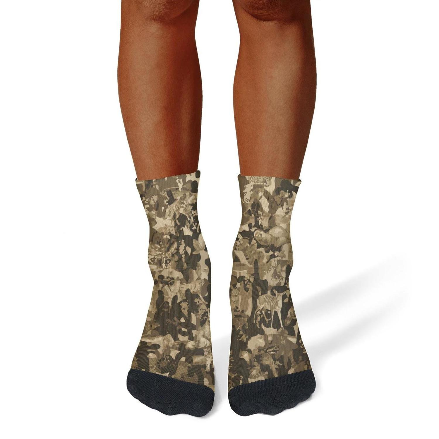 XIdan-die Mens Athletic Crew Socks animal camo Moisture Wicking Casual Socks