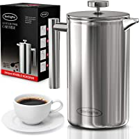 French Press Coffee Maker (1L) - Double Walled 18/10 Large Coffee Press with 2 Free Filters - Enjoy Granule-Free Coffee Guaranteed, Stylish Rust Free Kitchen Accessory - Stainless Steel French Press