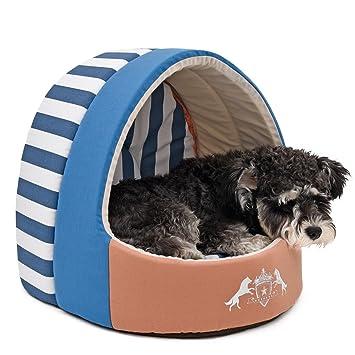 yhuisen lienzo cama de mascota Perro Casa Cojín extraíble cachorro transpirable sofá diseño de cueva cálido de la perrera para tartas de gato tamaño S: ...