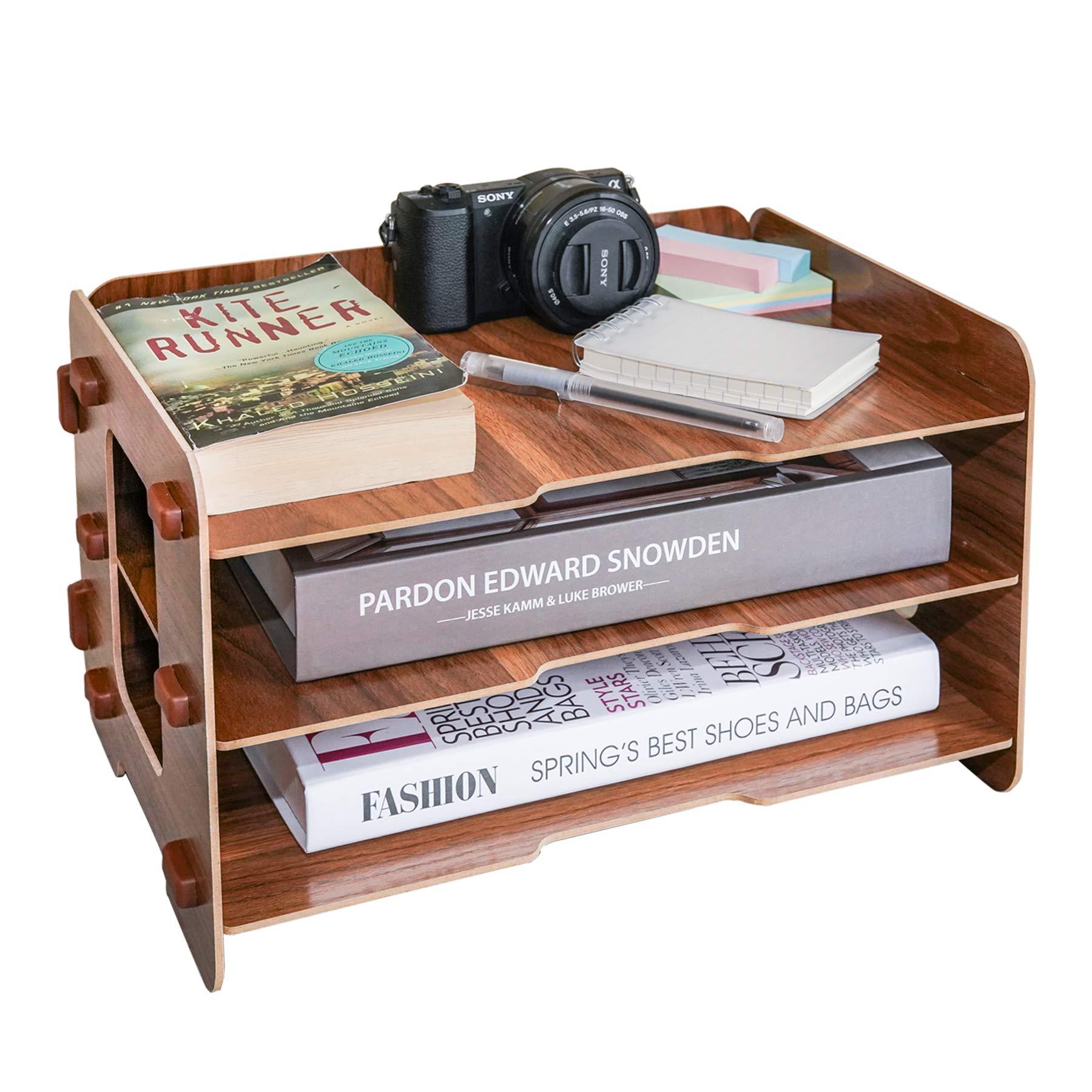 3 Layer Wood File Tray / 3 Tier Desk Organizer/Desktop Letter Tray Organizer/Files and Folder Tray/Paper Stacking Trays/Filing Organizer/Letter and Paper Organizer (Black Walnut Color)