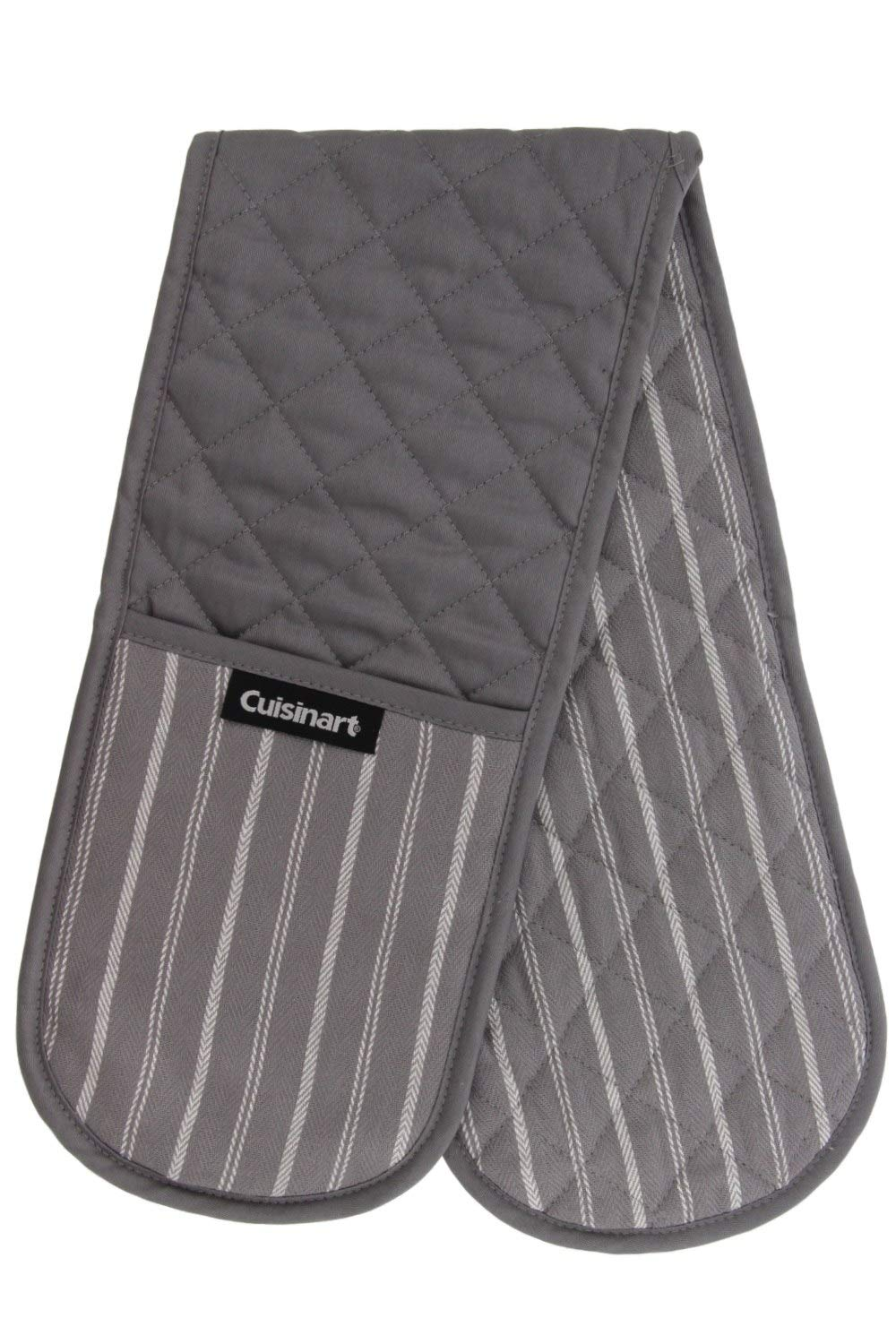 "Cuisinart Quilted Heat Resistant Double Oven Mitt/Glove, Twill Stripe, 7.5"" x 35"", Great for Cooking, Baking, and Handling Hot Pots & Pans- Titanium Grey"