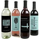 Home Sweet Home - Wine Bottle Labels Housewarming Gift - Set of 4