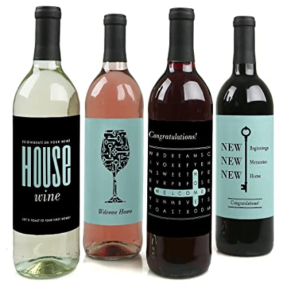 Amazon.com | Home Sweet Home - Housewarming Gift for Women and Men - Wine Bottle Label Stickers - Set of 4 Bar Tools u0026 Drinkware  sc 1 st  Amazon.com & Amazon.com | Home Sweet Home - Housewarming Gift for Women and Men ...