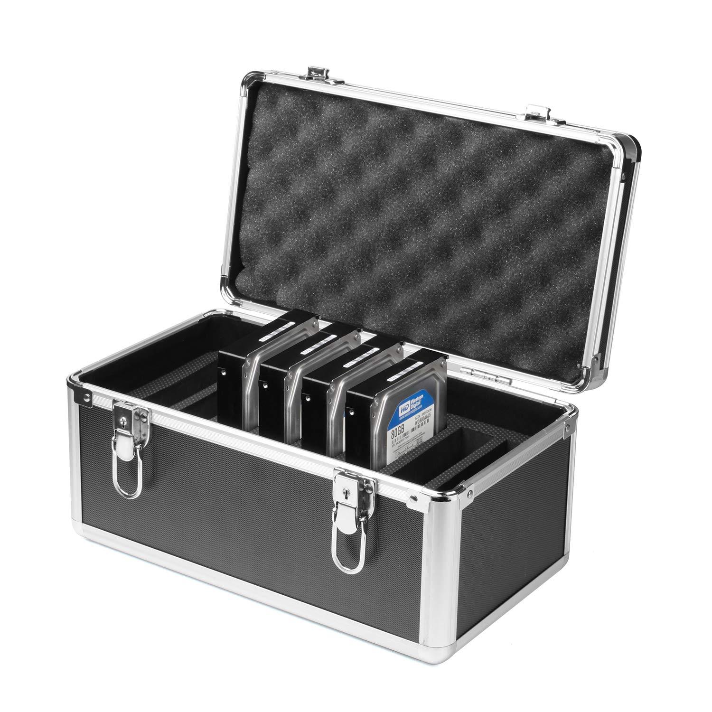 Salcar Disco Duro Caja Protectora de 10/Unidades de Disco Duro 3,5/Pulgadas Caja de protecci/ón para malet/ín de Aluminio con Espuma de protecci/ón y Transporte