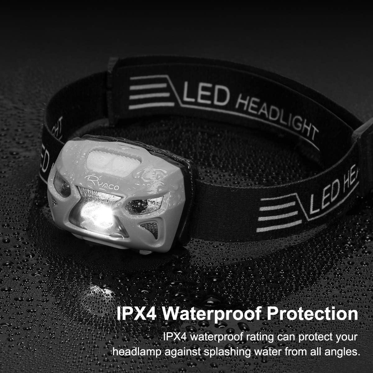 Ciclismo Carrera Linterna Cabeza 4 Modos Sensor de Movimiento Ryaco Linterna Frontal LED USB Recargable 1200mAh Linternas LED Alta Potencia 300 L/úmenes IPX4 Impermeable para Camping Pesca