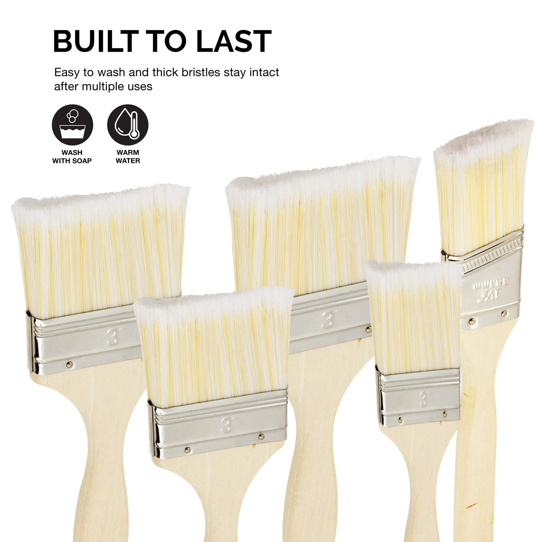 HI 5-Piece Grace Marketing Hiltex 00308 Brush Paint Stain Varnish Set with Wood Handles