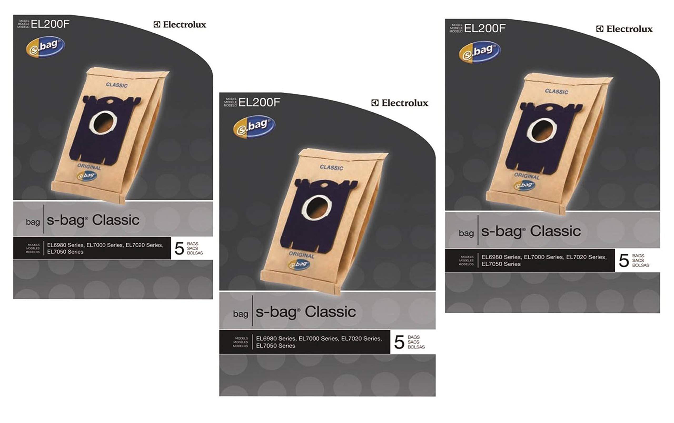 Electrolux EL200F S-Bag Classic Vacuum Bag, 5 Bags per Pack, 15 Bags Total