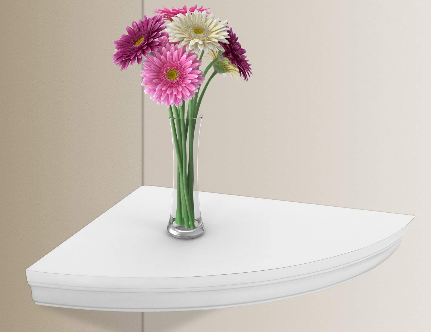 Halter Corner Floating Shelf – Space Saving Round Design with No Visible Support. 10''x 10'' White, Mounting Hardware Included, Functional & Decorative.