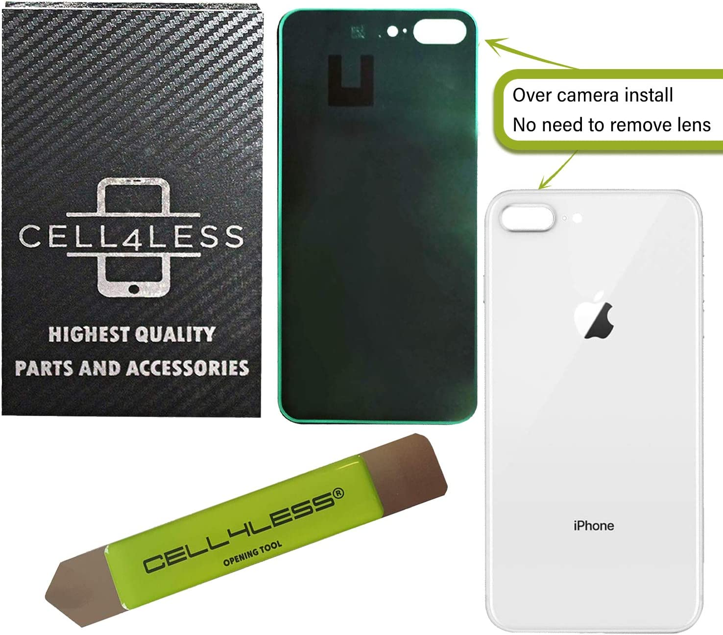 CELL4LESS Back Glass Replacement Compatible w//The iPhone 8 Plus Including Wide Camera Hole Gold Adhesive /& Removal Tool