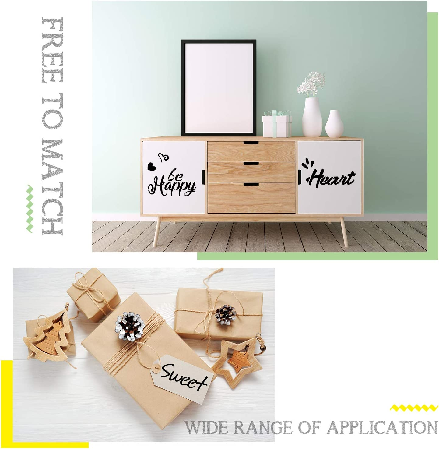 6 x 8 Inches Inspirational Word Stencils Template for Drawing Painting Spraying Wood Floors Furniture Paper Window Glass Door Wall Sign 2 Pieces Plastic Stencils for Painting Decor