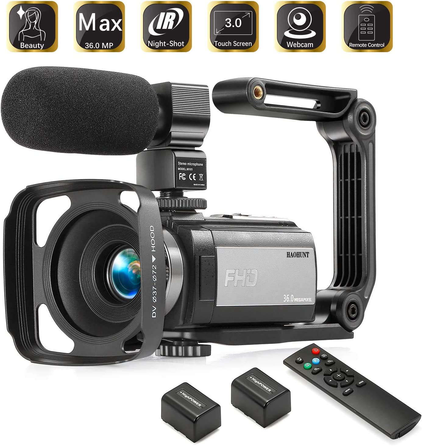 HAOHUNT Camcorder Video Vlogging HD Camera 36MP 1080P Digital Recorder, 3 Inch Touch Screen Camcorder with Rechargeable External Microphone, Remote Control, Stabilizer, 2 Batteries