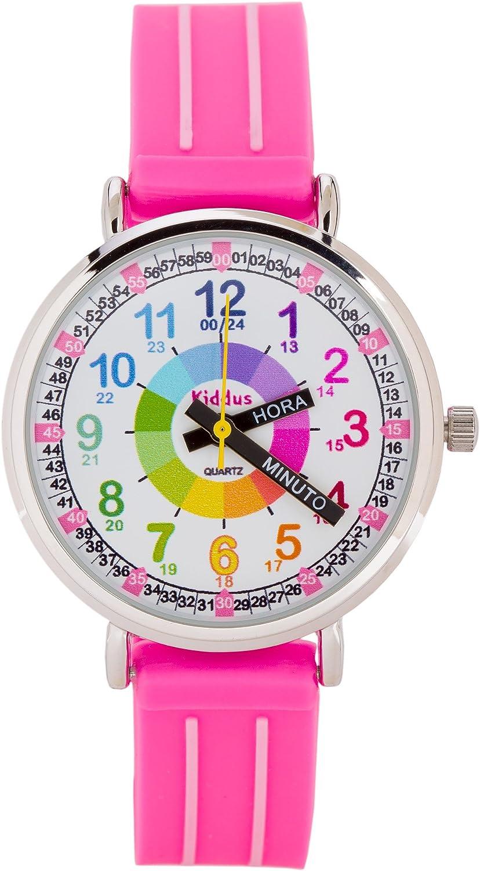 KIDDUS Reloj Educativo para niña, Chica, Chico. De Pulsera, analógico. Time Teacher fácil de Leer para Aprender la Hora. Ejercicios incluídos. Mecanismo de Cuarzo japonés