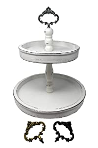 Felt Creative Home Goods Distressed Rustic Wood Two Tier Tray (Rustic White, 2 Tier)