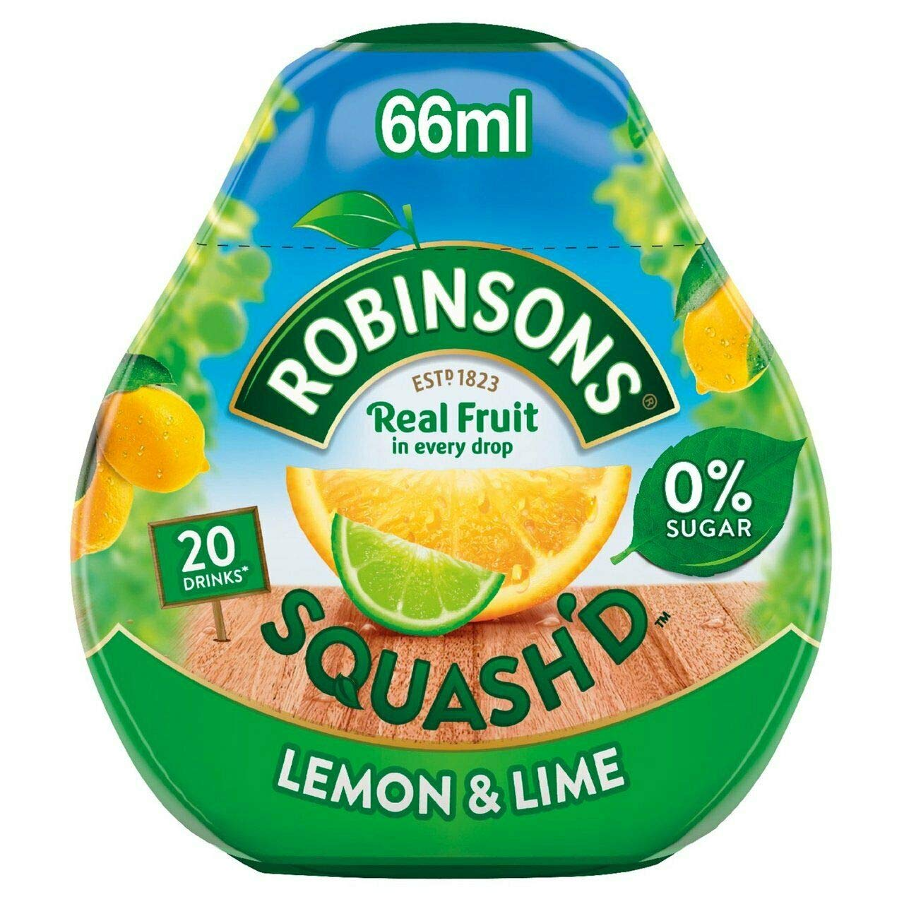 Robinsons Squash'd Lemon & Lime No Added Sugar 66ml (Pack of 2)